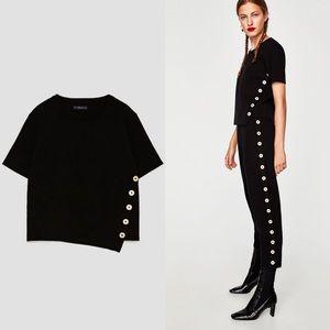 ZARA Boxy Short Knit Button Front Top Black Medium